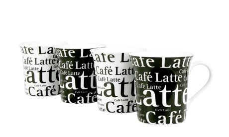 Set of 4 Assorted Café Latte Mugs Writing on Black and White 14222cda-42d9-4618-96b4-4c88eec10164