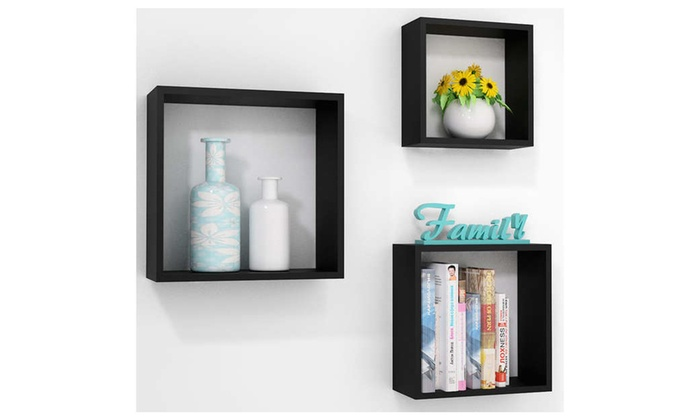 Superieur BTEXPERT: 3pc Square Cube Wall Shelves Rack Storage Decoration Display  Shelf Set ...