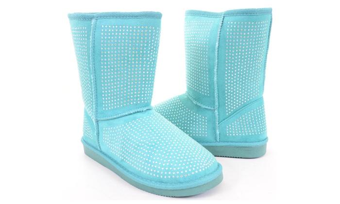 Fur Rhinestone Faux Shearling Blue Round Toe Women's Boot