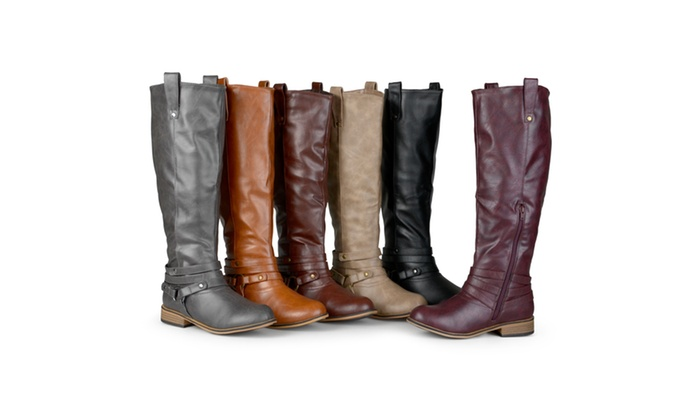 Journee Collection Womens Wide-Calf Ankle-Strap Knee-High Riding Boots