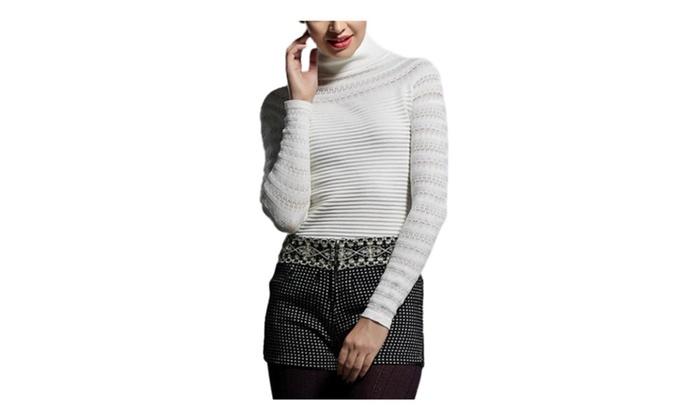 DPN Women's Slim Fit High Collar Long Sleeve Fleece Knit Blouse Shirt