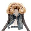 DPN Winter Women Jeans Coat Fleece Denim Jacket Slim Fur Collar Coat