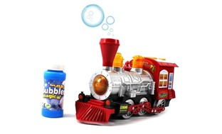 Bubble Blowing Bump & Go Battery Operated Toy Train w/ Lights & Sounds