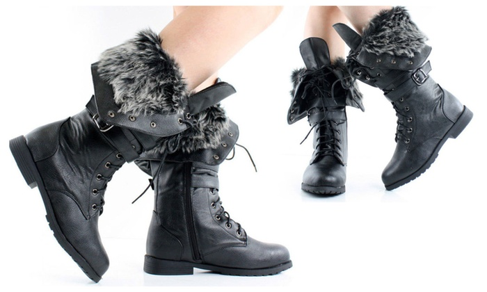 Women's Knee High Lace Up Faux Fur Winter Boots in Black