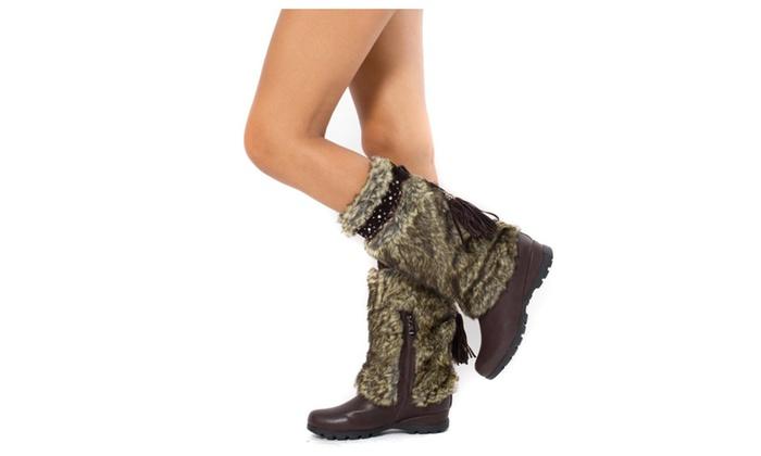 Brown Vegan Fur Rivet Studded Flat Mukluk Outdoor Boots