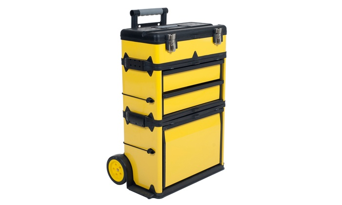 Rolling stacking portable metal trolley tool box chest