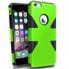 Insten Neon Green/Black Dynamic Hybrid Hard Soft For iPhone 6 Plus 5.5