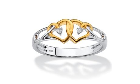 Diamond Accent 14k Gold over .925 Silver Two-Tone Double Heart Ring 9eee0e56-e26f-4997-a0e6-84239bed0183
