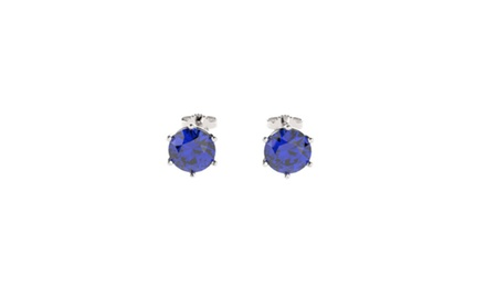Sterling Silver Stud Earrings with 2CTTW Sapphires