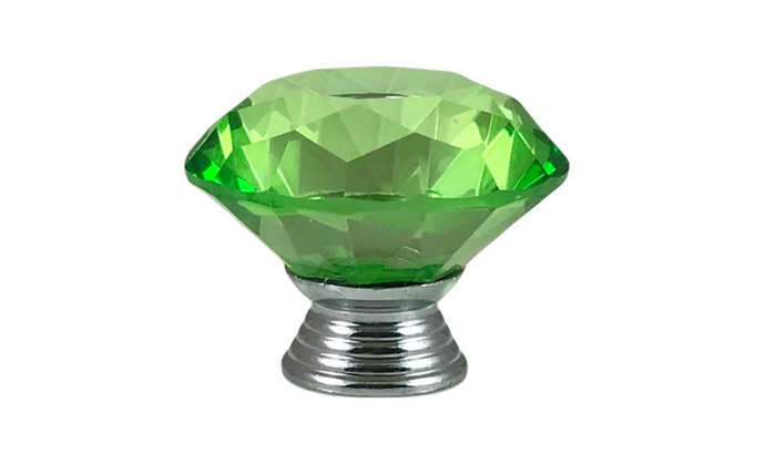 "Green Crystal Glass Diamond Shape 1.5"", Drawer Knob Pull - Set of 6"