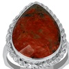 9.50 CTW genuine unakite sterling silver ring