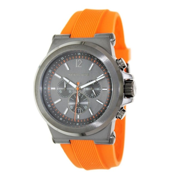 01741a1e3b48 Men s Michael Kors Orange Rubber Gunmetal Dial Watch MK8296