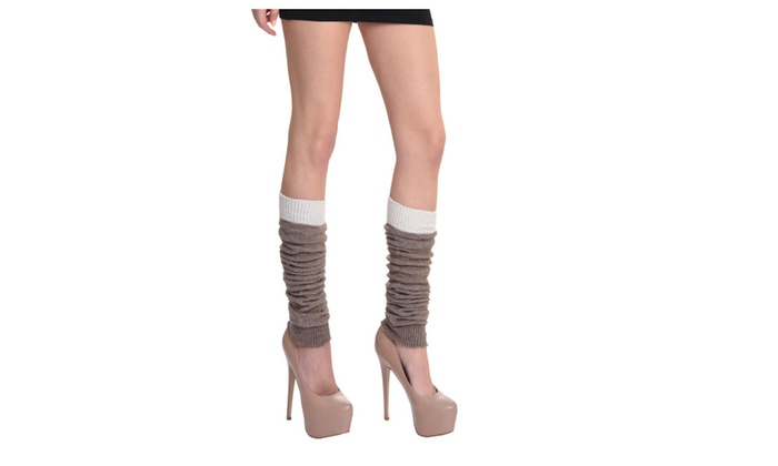 Woven Leg Warmers with Two Solid Colors Monochromatic Brown by Somek