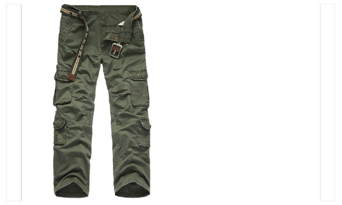 Mens Thick Polar Fleece Lined Multi Pocket Cotton Cargo Pants