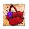 Roderick Stevens Flower Purse Purple on Red Canvas Print