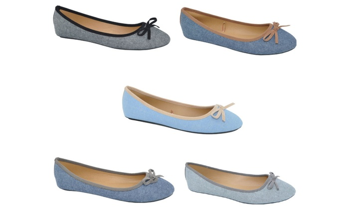 P26 Womens Denim Ballet Flats Shoes W/Contrast MicroSuede Trimming & B