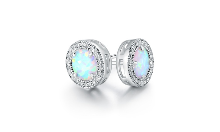 22f2d4e5ad 18K White Gold Plated White Fire Opal & Cubic Zirconia Stud Earrings  (ER5149-S)