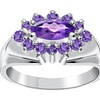 Orchid Jewelry 925 Sterling Silver 1 Carat Amethyst Anniversary Ring