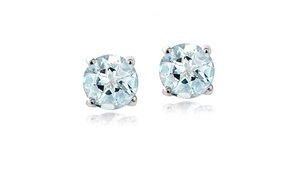 Light Aquamarine 5mm Round Solitaire Stud Earrings in Sterling Silver