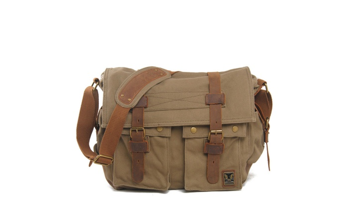 Men's Military Canvas Leather Satchel School 14″