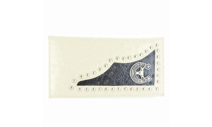 Women's Fashion Horseshoe Metal Emblem Wallet WLT-LL105BEG in Beige