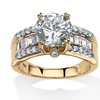 4.31 TCW Round and Baguette CZ Ring in 18k Gold Over Silver