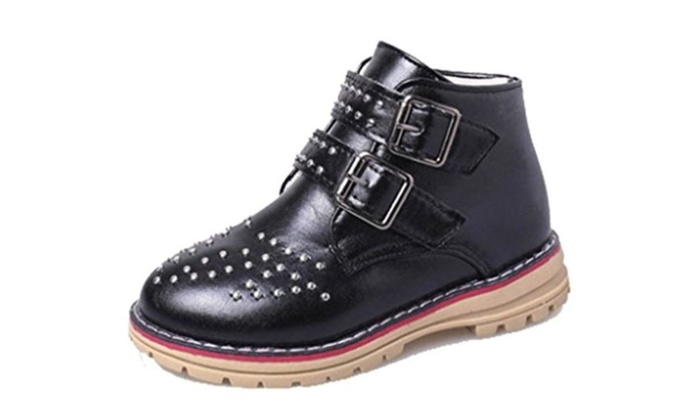 Cattior Toddler Little Kid Rivet Buckle Fashion Leather Boots Girls Shoes
