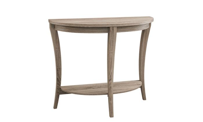 Foyer Table Jcpenney : Daluna light oak half circle open shelf entryway table
