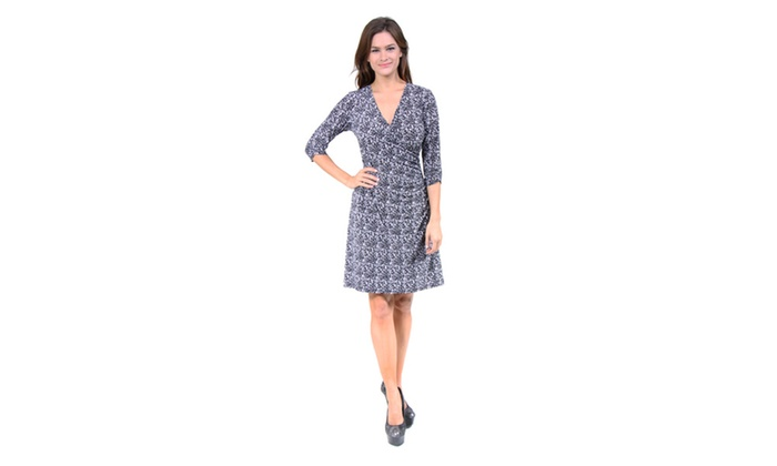 Women's Black and White Abstract Printed Wrap Dress