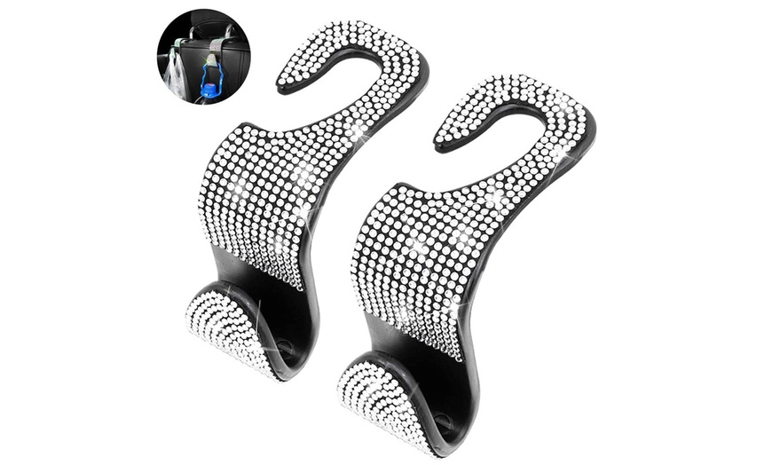 Clothes and More Auto Seat Hook Crystal Car Decor Accessories for Hanging Handbags Colorful Crystal Hidden Headrest Hangers Car Purse 2 Pieces Bling Car Back Seat Headrest Hooks