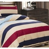Shefetch Cotton Beige Blue Red Striped Bedding Cover Set