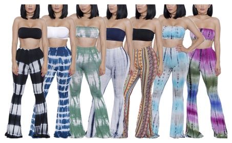 Women's Two-Piece Outfits Tie Dye Print Bandeau Top Bell Bottom Pants 940f2f8e-9609-46f9-9348-2b99ae234eb1