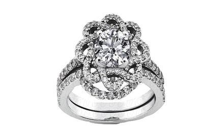 1.85 CTTW Round Diamond Anniversary Bridal Rings Set in 14K White Gold
