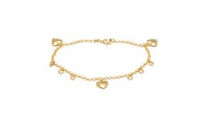 18K Gold Plated Gold Heart Charm Anklet Bracelet