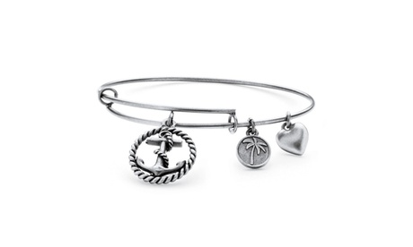Anchor Charm Bangle Bracelet in Antique Silvertone f3be98b9-b114-49b8-b40d-c12e9802daa5