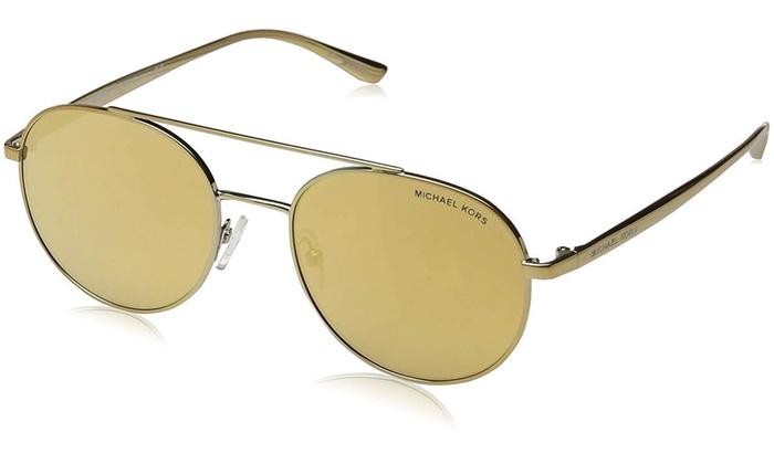 2568ab8ae1 ... Michael Kors Lon Round Aviator Sunglasses w  Gold Mirror Lens - MK1021  11687P 53