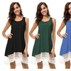 Women's Lace Patchwork 2 Layed Swing Beach Mini Solid Tunic Dress