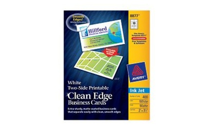 avery 8877 clean edge business cards white two-sided