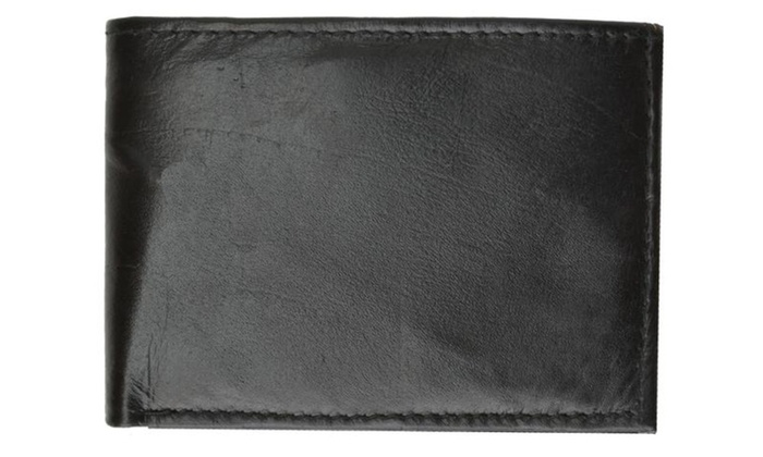 Mens Bifold Flap Out ID Windows Genuine Leather Wallet