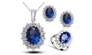 Blue Cubic Zirconia Jewelry Set