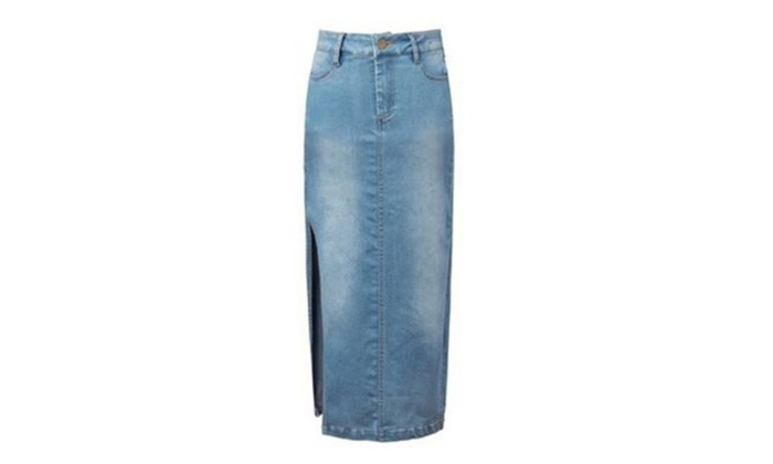 Women's Slim Side Slit Denim Skirt