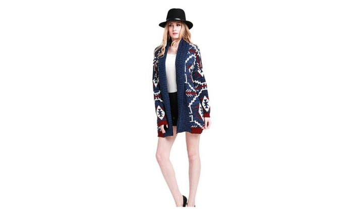 Womens Kimono Style Aztec Draped Front Cardigan - Multicolored