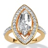 Marquise-Cut Crystal Ring in Yellow Gold Tone