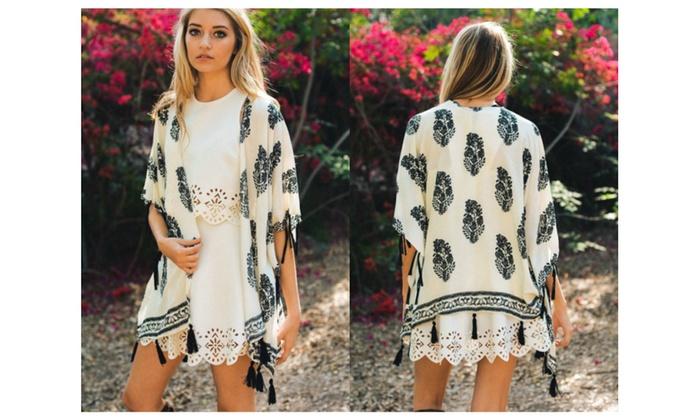 Boho Chic Leaf Print Tassel Kimono Shawl – Cream