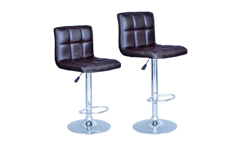 Brown Modern Adjustable Synthetic Leather Swivel Bar Stools Chairs 06cdaaeb-f0e0-4ef9-86b6-e64e3f9277ba