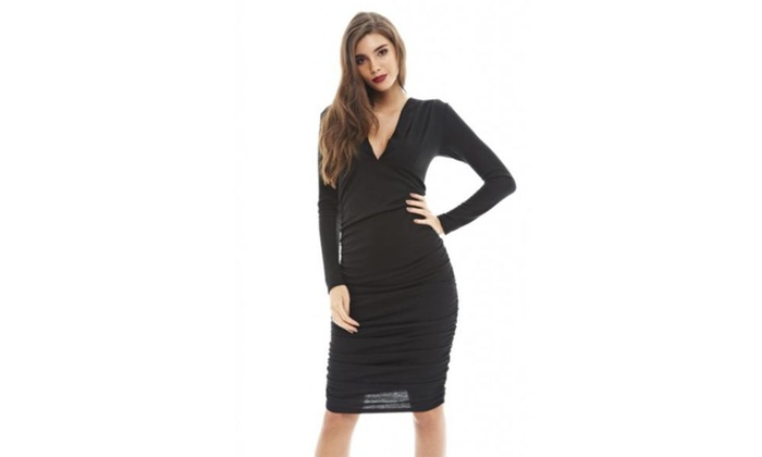 AX Paris Ruched V Front Bodycon  Dress