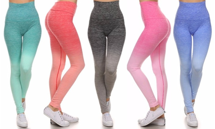 Style Clad Women's Workout Space Dye Ombre Fitness Leggings