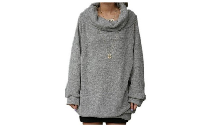 Women's Cowl Neck Loose Over Size Knit Pullover Sweatshirt