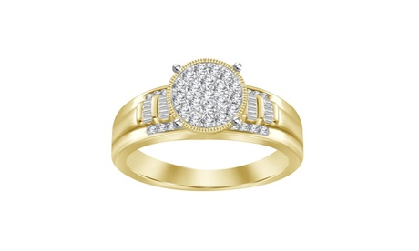 1/2cttw Real Diamond Solid 10K Yellow Gold Round Shape Cluster Engagement Ring