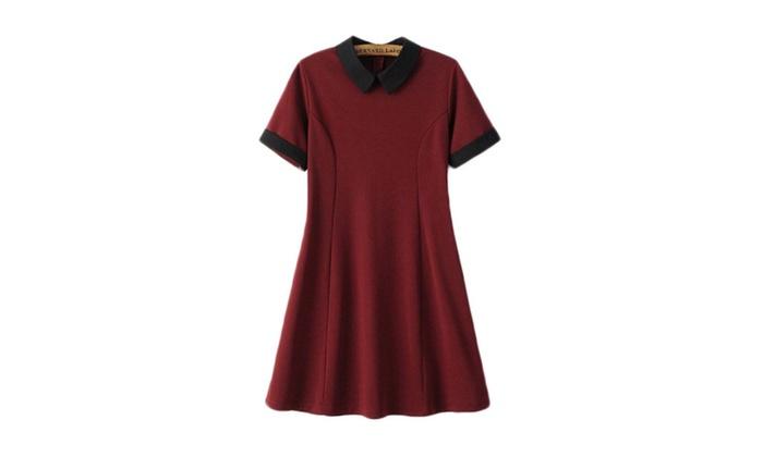 Hello fashion: Hellofashion Women's Solid Short Sleeve Solid European Style Dress